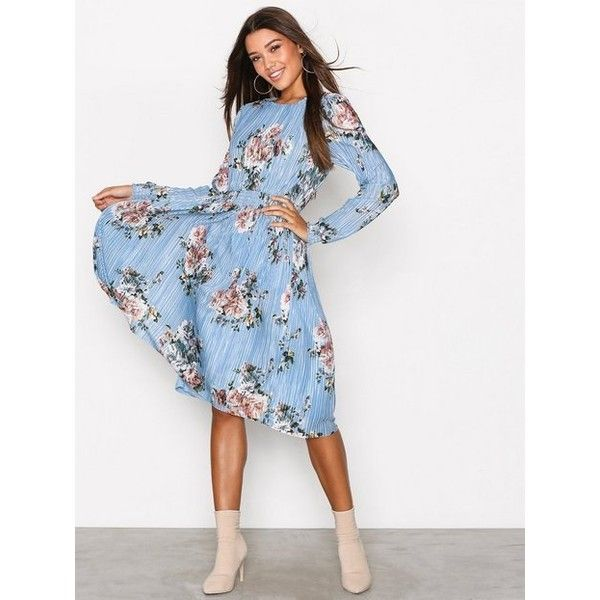 Vila Viblisa L/S Dress/Rx ($62) ❤ liked on Polyvore featuring dresses,  blue, womens-fashion, blue dresses, long sleeve cocktail dresses,  longsleeve…