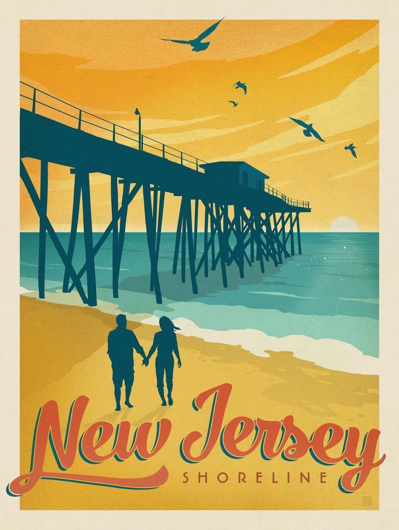New Jersey Shoreline Retro travel poster, Travel posters