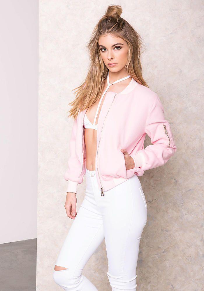 Pink Felt Bomber Jacket - LoveCulture.com ♡