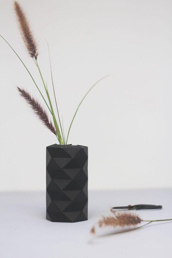 Black Paper Origami Vase Holiday Gifts Geometric Vase Hexagon
