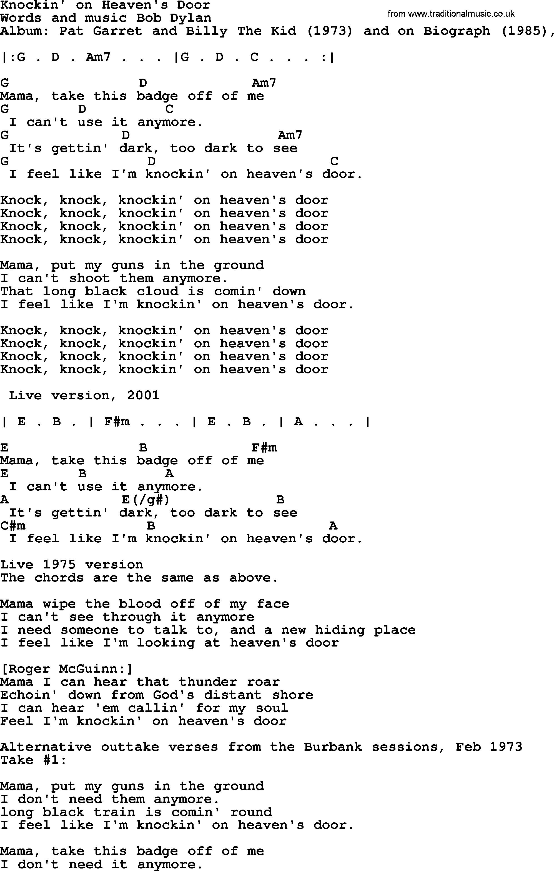 Bob Dylan Song Lyrics With Chords Knockin On Heavens Door