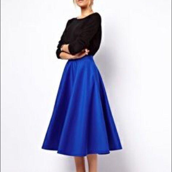 J Crew royal blue silk midi skirt   Royal blue and Mid length skirts