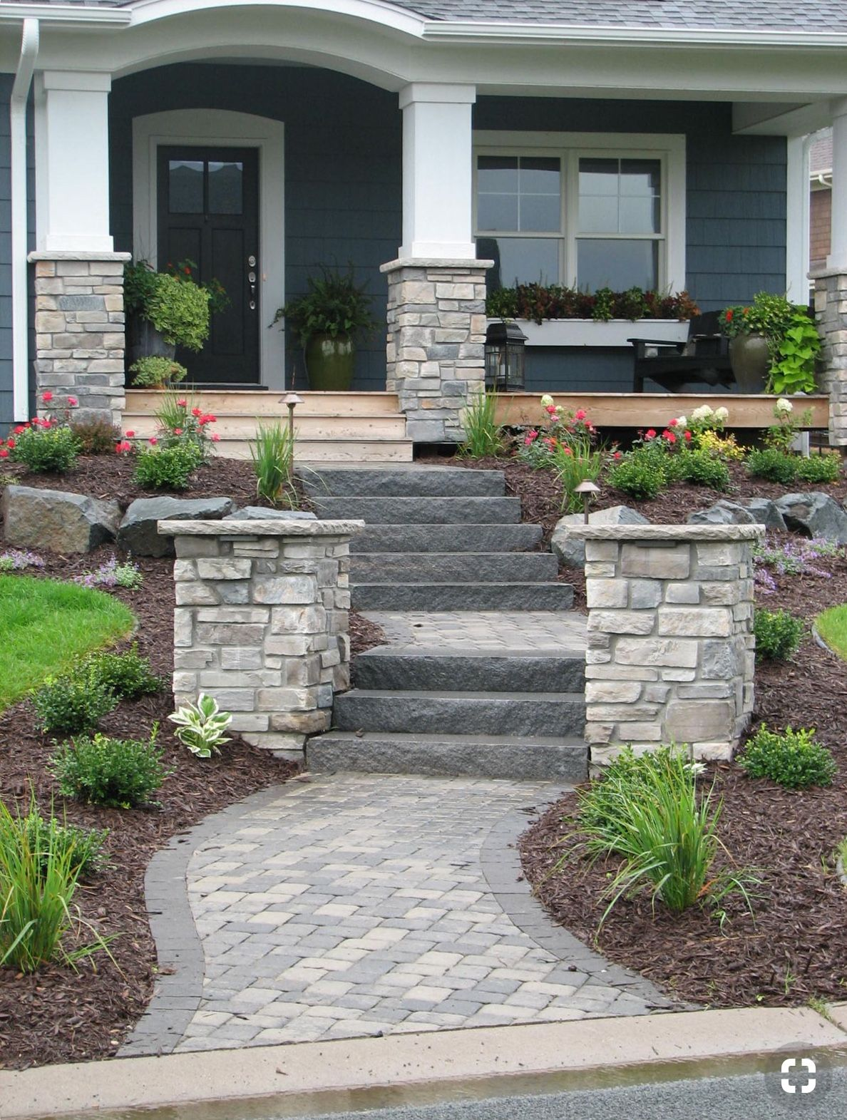Best Pin By Lucy Rivas On Brick Ideas With Images Front Yard Walkway Front Porch Steps Front 640 x 480