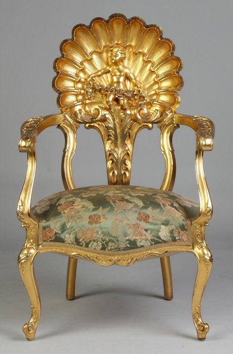 French Giltwood Chair With Shell Carved Back And Cherub c.1900