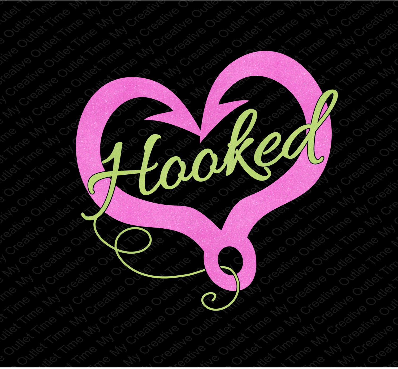 Hooked Inside A Fish Hook Heart I Love Fishing Iron On