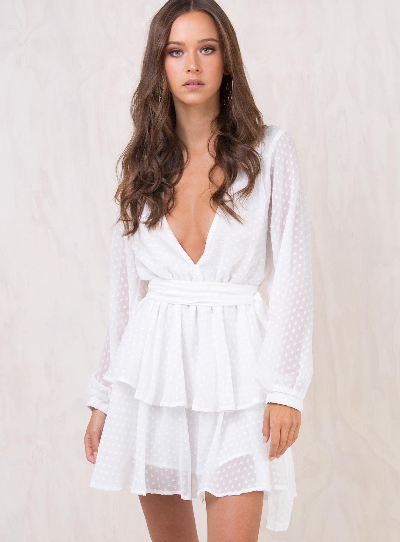 Legendary Lovers Plunge Dress White Plunge Dress Long Sleeve Dress Online Dresses