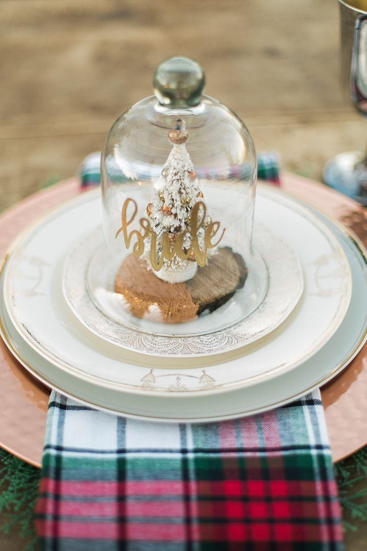 bell jar tree decor favour place setting name christmas tree farm wedding ideas http