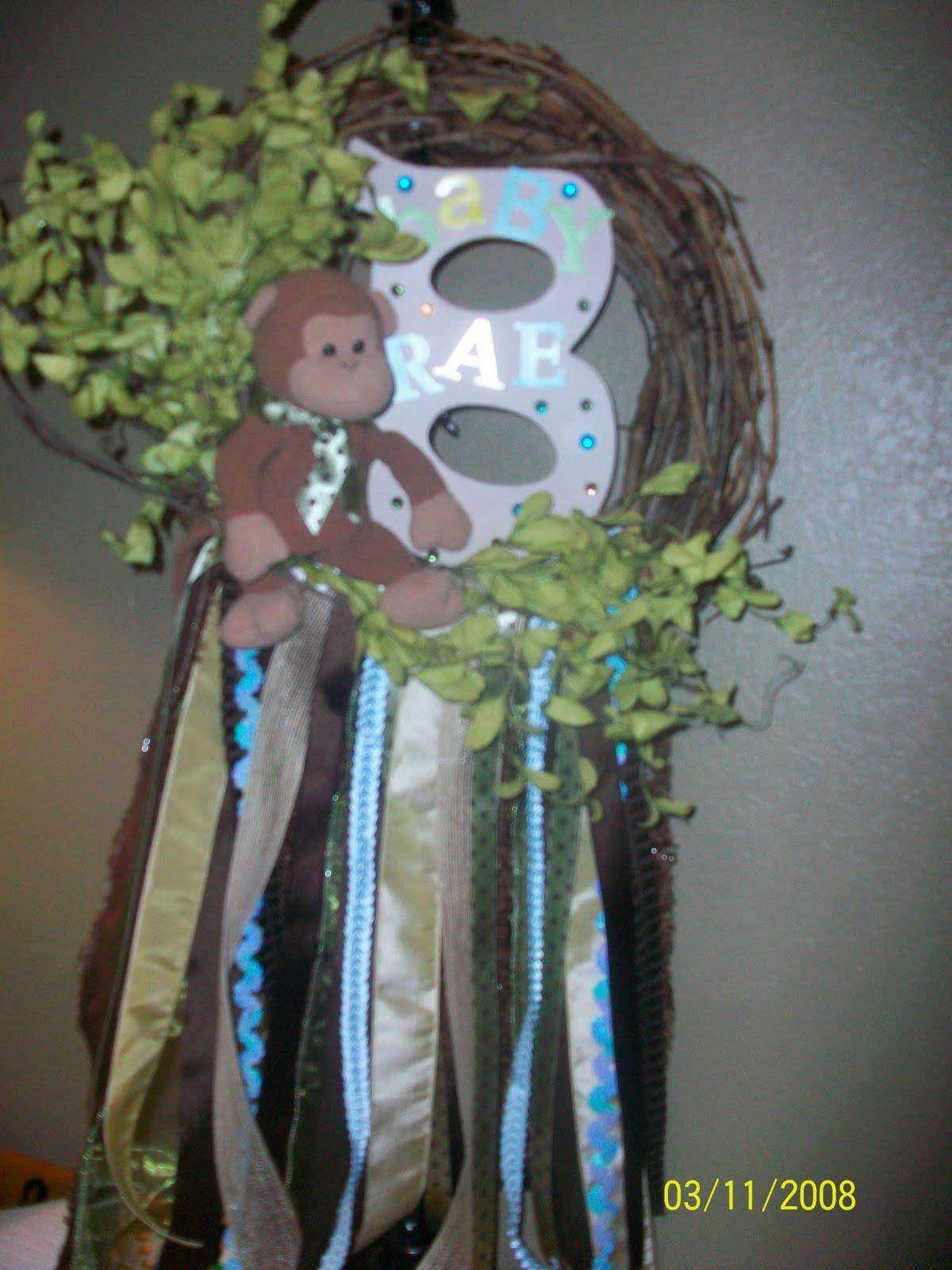 Door Wreaths New Baby Boy   De'Coop: Monkey Wreath for Baby Boy