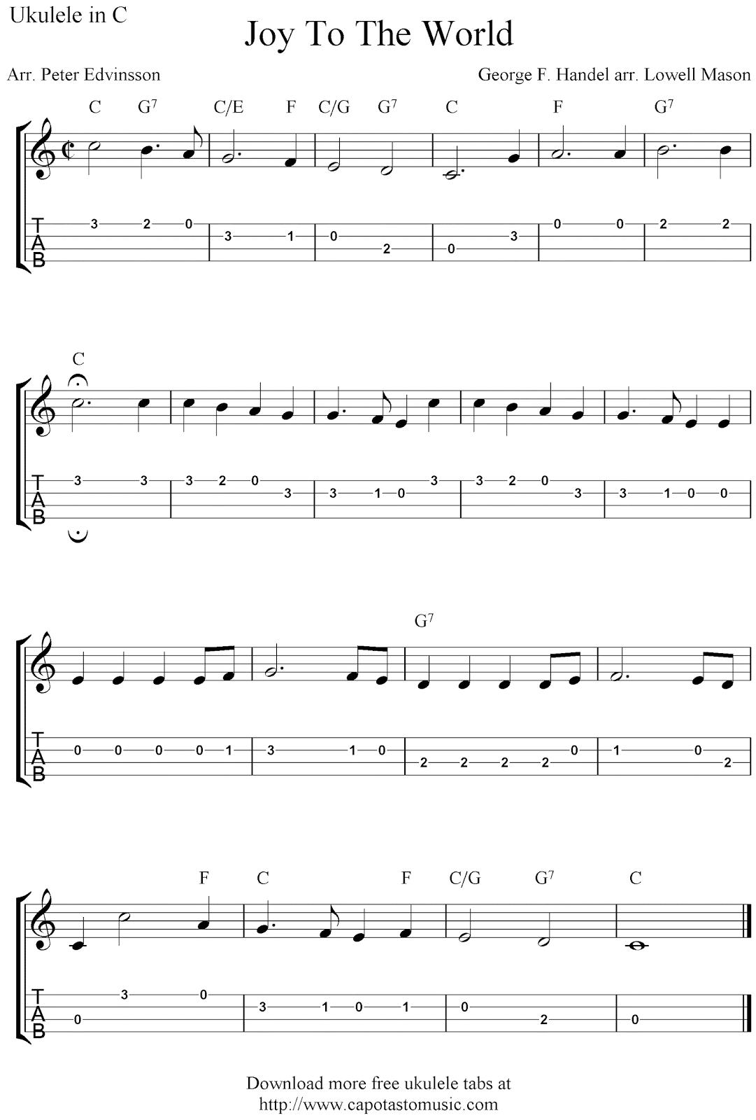 Joy To The World, free Christmas ukulele tab sheet music – Lenox