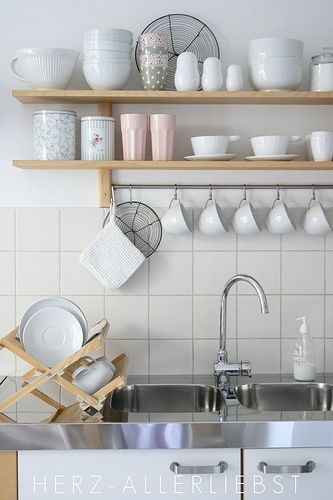 White styling of an IKEA Varde shelf.