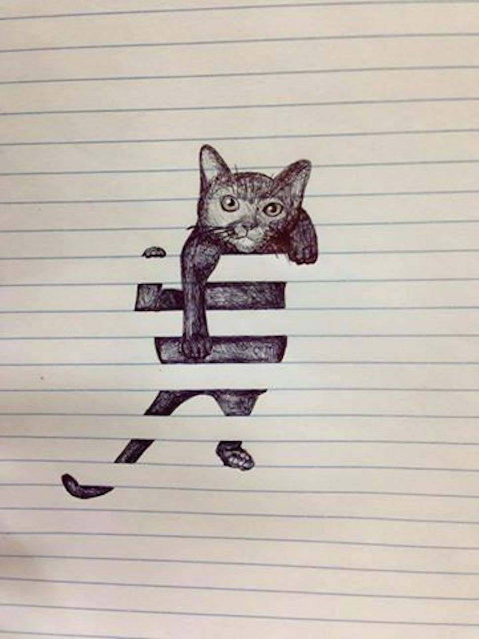 Find This Pin And More On Opical Illusion Drawing On Lined Paper