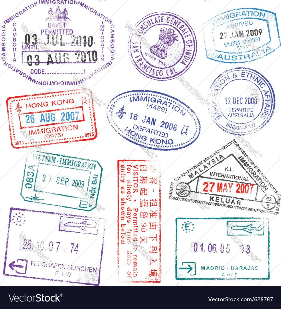 Highly Detailed Passport Stamps Vector Image On Passport Stamps Travel Stamp Stamp