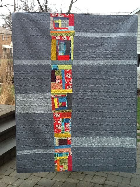 Improv Quilt (Front) by IT Girl Quilts!, via Flickr - love the continuous loop quilting in matching gray thread!