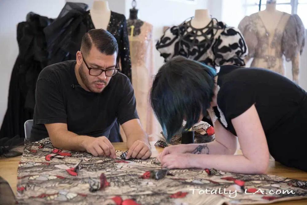 Fashion Designer Preparing A Gown For La Fashion Week La Fashion Week Los Angeles Fashion Week La Fashion