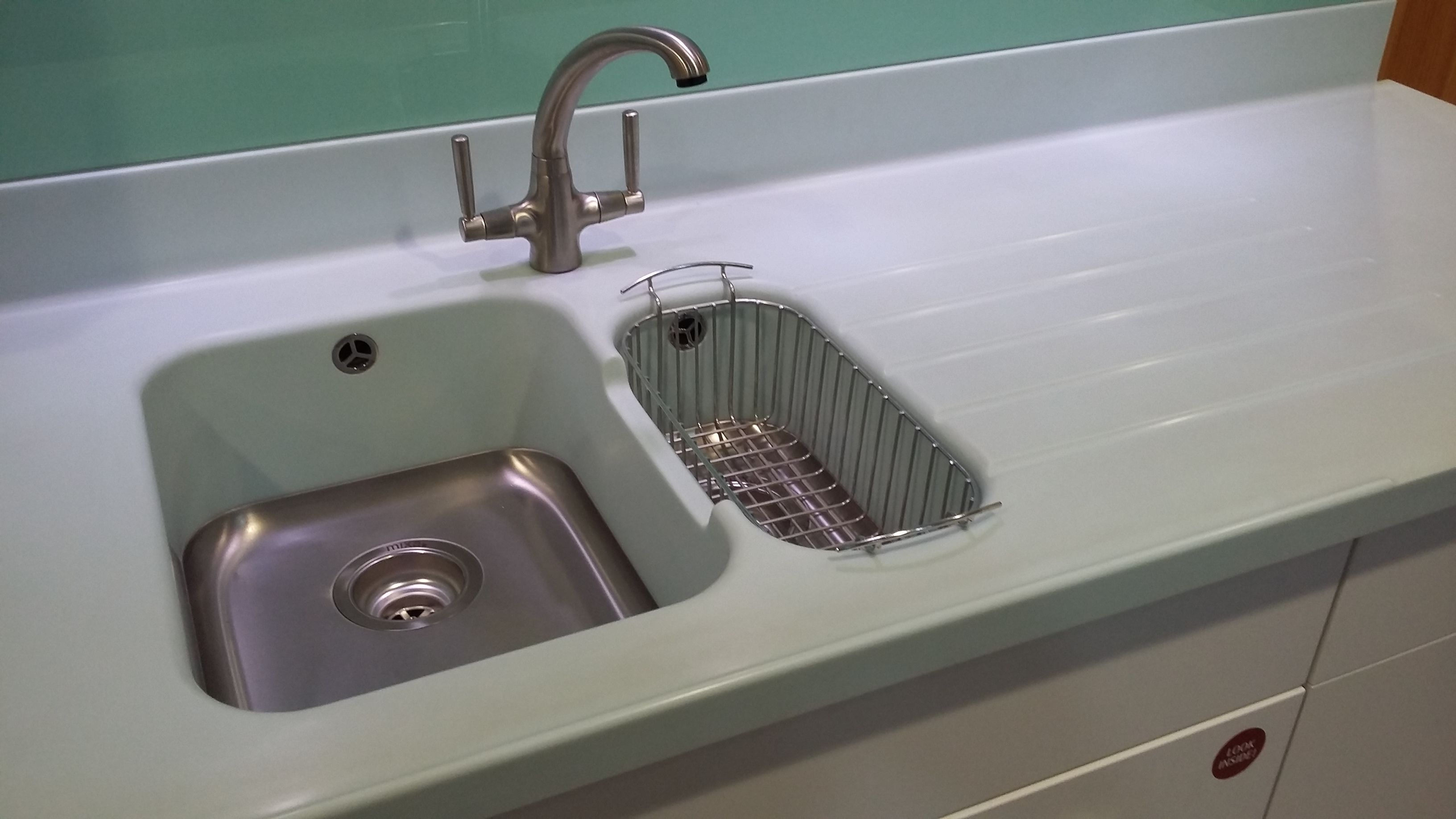 Corian tm moulded sink with drainer grooves and for Corian sink accessories