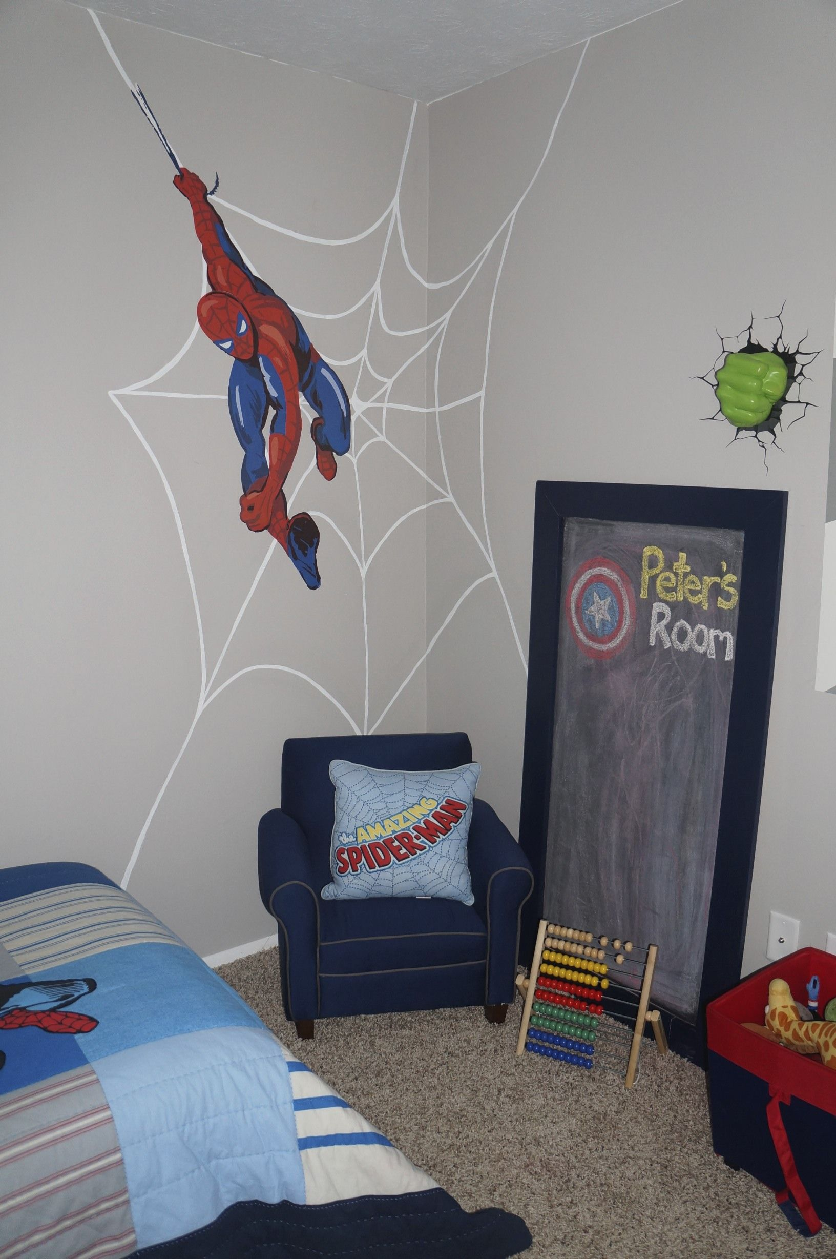 Pottery Barn Kids Spiderman Wall Decal. I Painted The Web Behind It And My  Husband Made The Chalkboard.