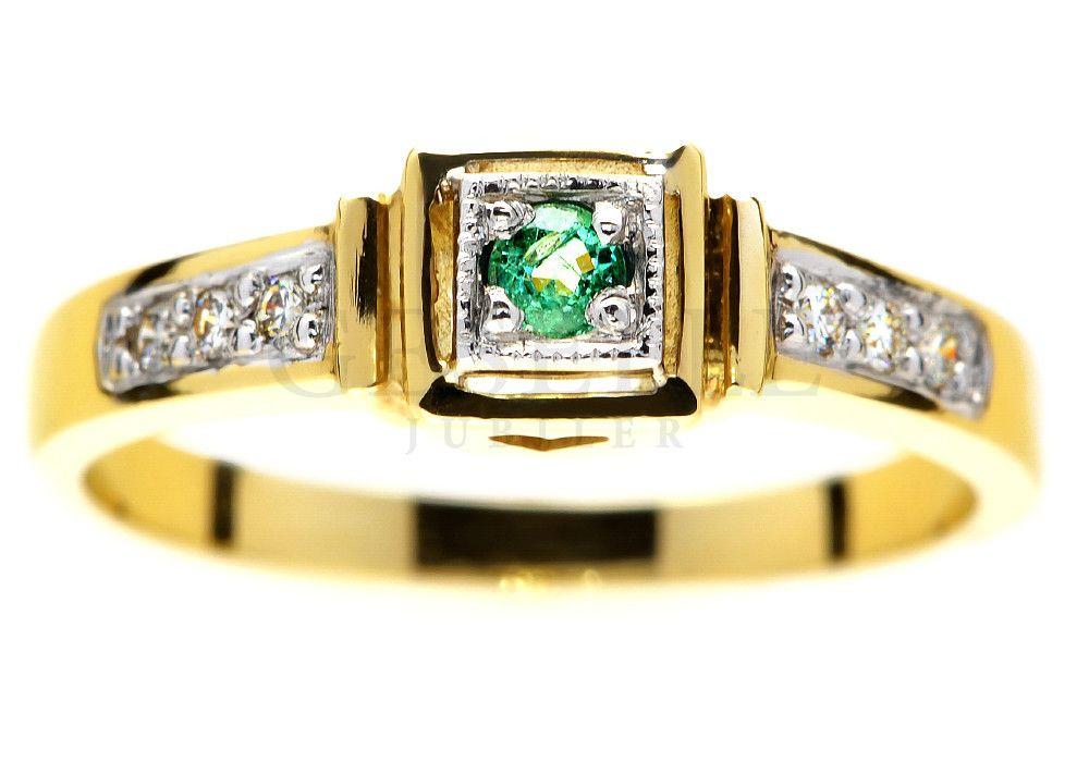Złoty Pierścionek Zaręczynowy Ze Szmaragdem I Brylantami 006 Ct
