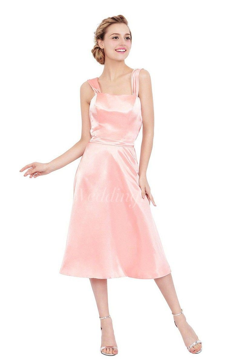 Sleeveless Tea-length Satin Dress With Square Neckline