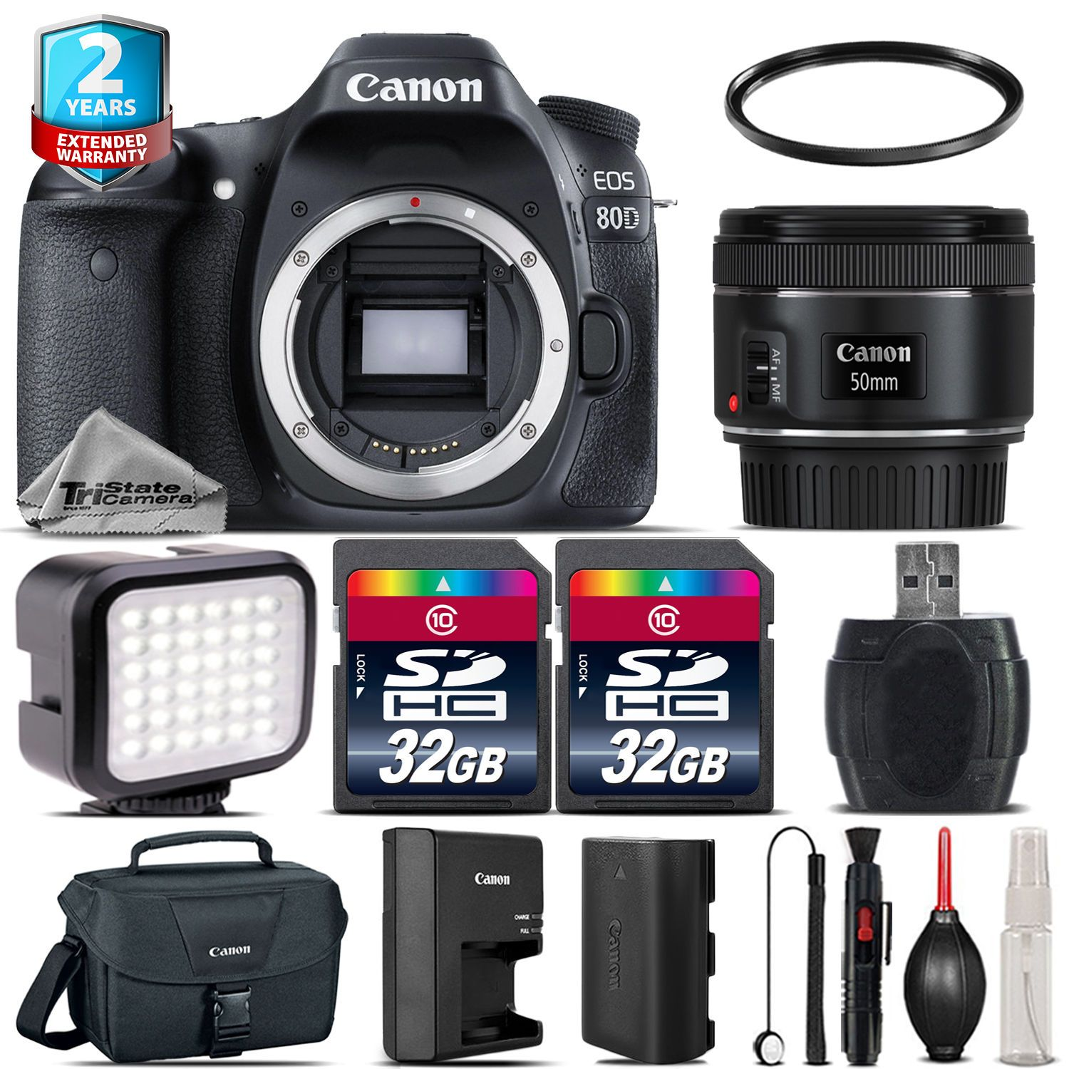 Canon Eos 80d Dslr Camera 50mm 18 Stm Led Light Case 64gb 2yr Wi Fi With 200mm Warranty