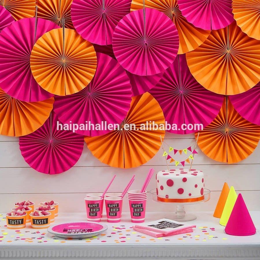 Diy Party Decorpink Paper Fan Backdrop Paper Rosette Kids