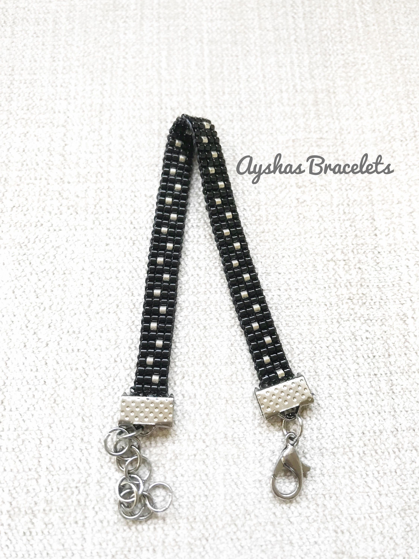 Black and Silver Miyuki Bracelet / Beaded Bracelet