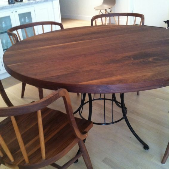 Round Walnut Table With Metal Base Table Dining Table Round Dining Room