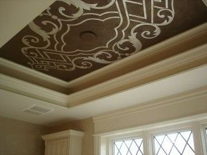 Silver Leaf Stenciled Ceiling Stencil Search Ceiling Paint Design Simple Ceiling Design House Ceiling Design