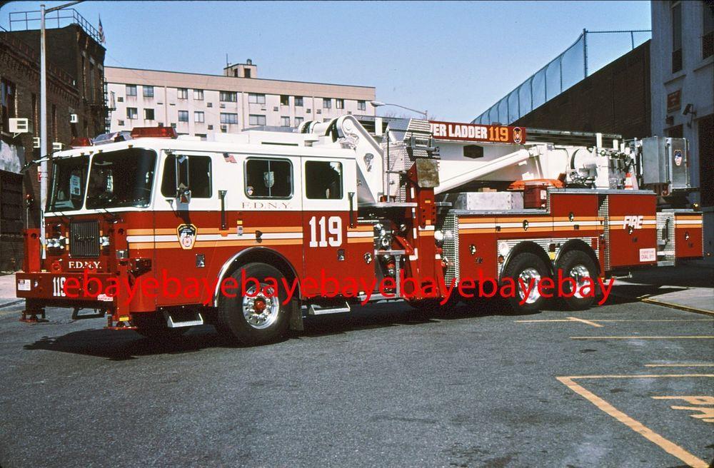 Fire Apparatus Slide, TL 119, FDNY, 2001 Seagrave