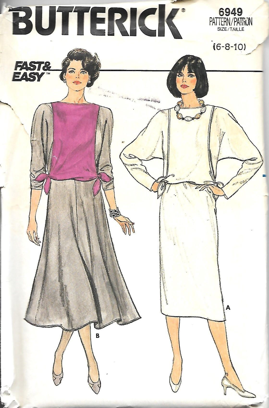 Butterick misses pullover dress with straight or flared skirt