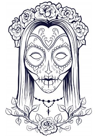 Calaveras Sugar Skull Day Of The Dead Halloween Free Printable Adult Coloring Page Skull Coloring Pages Halloween Coloring Pages Halloween Coloring