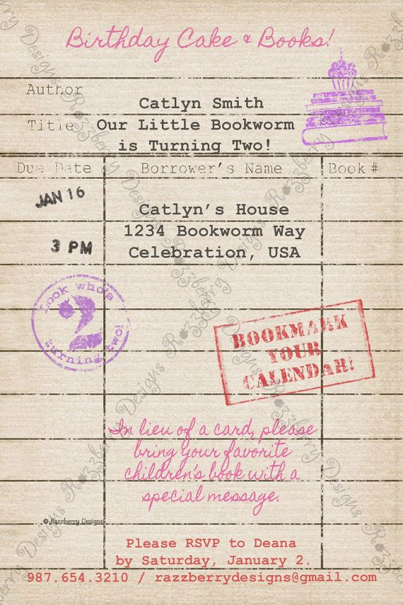 Library Card Birthday Invitation Book By RazzberryPrints Invitations