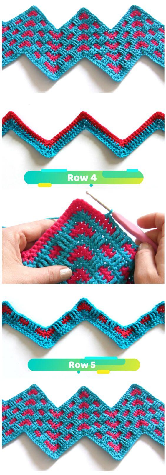 Crochet Mosaic Ripple Stitch #crochetstitchespatterns