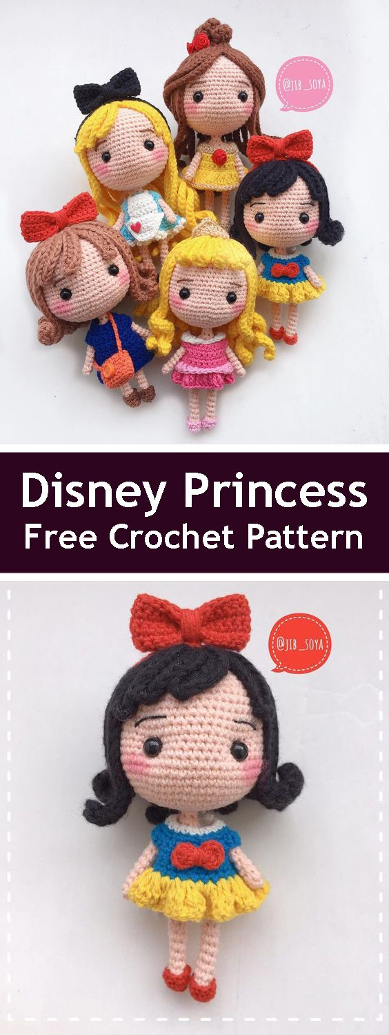 Free Disney princesses pdf pattern. So cute! #amigurumifreepattern