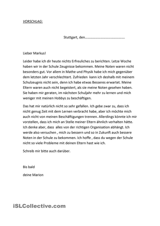 Brief Zeugnis Brief Deutsch Deutsch Schreiben Deutsch Lernen