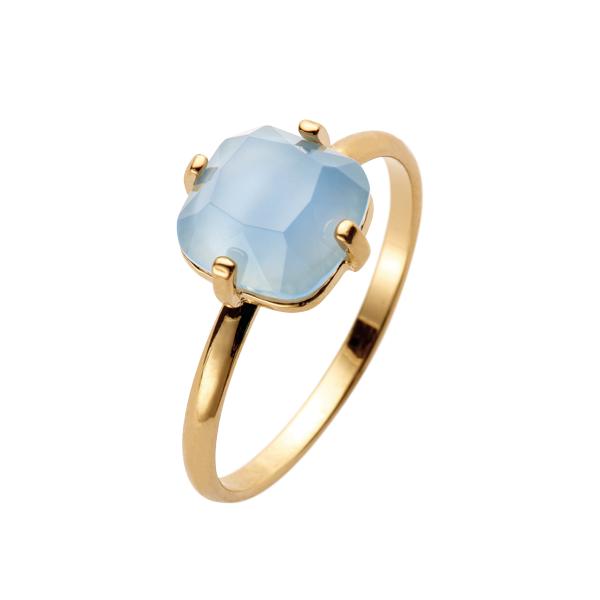 1eebe08b016f ANILLO Anillo dorado con piedra cuadrada en color azul empolvado ...