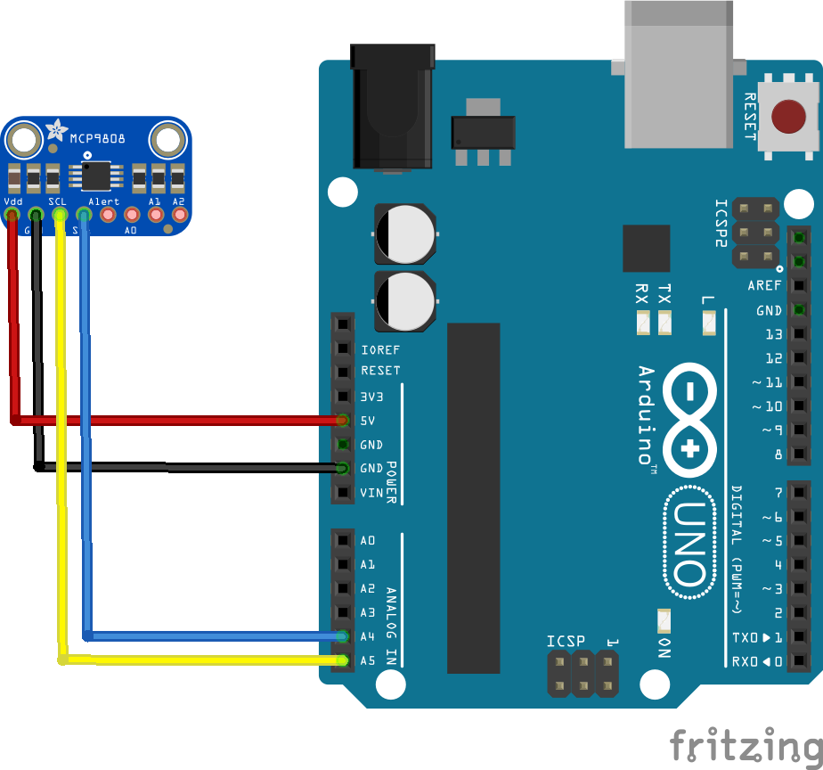 Arduino And Mcp9808 Digital Temperature Sensor Example Detector Controller Circuit Electronic Projects