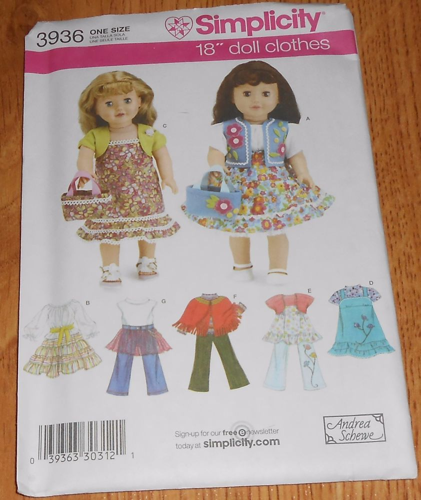 Simplicity Sewing Pattern 3936 Doll Clothes 18\