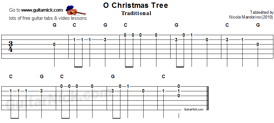 O Christmas Tree Easy Guitar Tab Chords Guitarnick Com Guitar Tabs Guitar Tabs For Beginners Guitar Tabs Songs