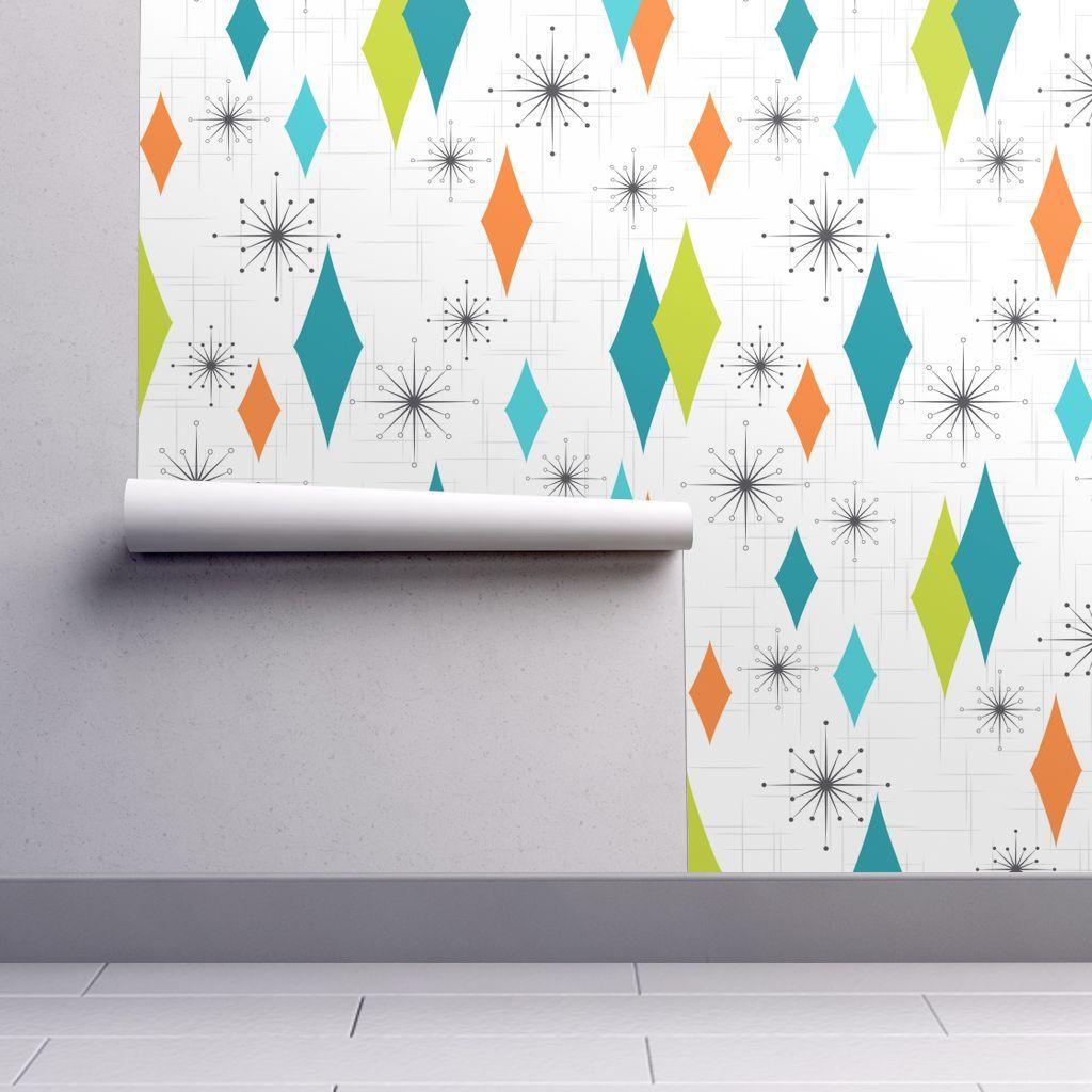 Mid Century Modern Wallpaper Aqua Lime Gray Burmond By Tonyanewton- Custom Printed Removable Self Adhesive Wallpaper Roll by Spoonflower