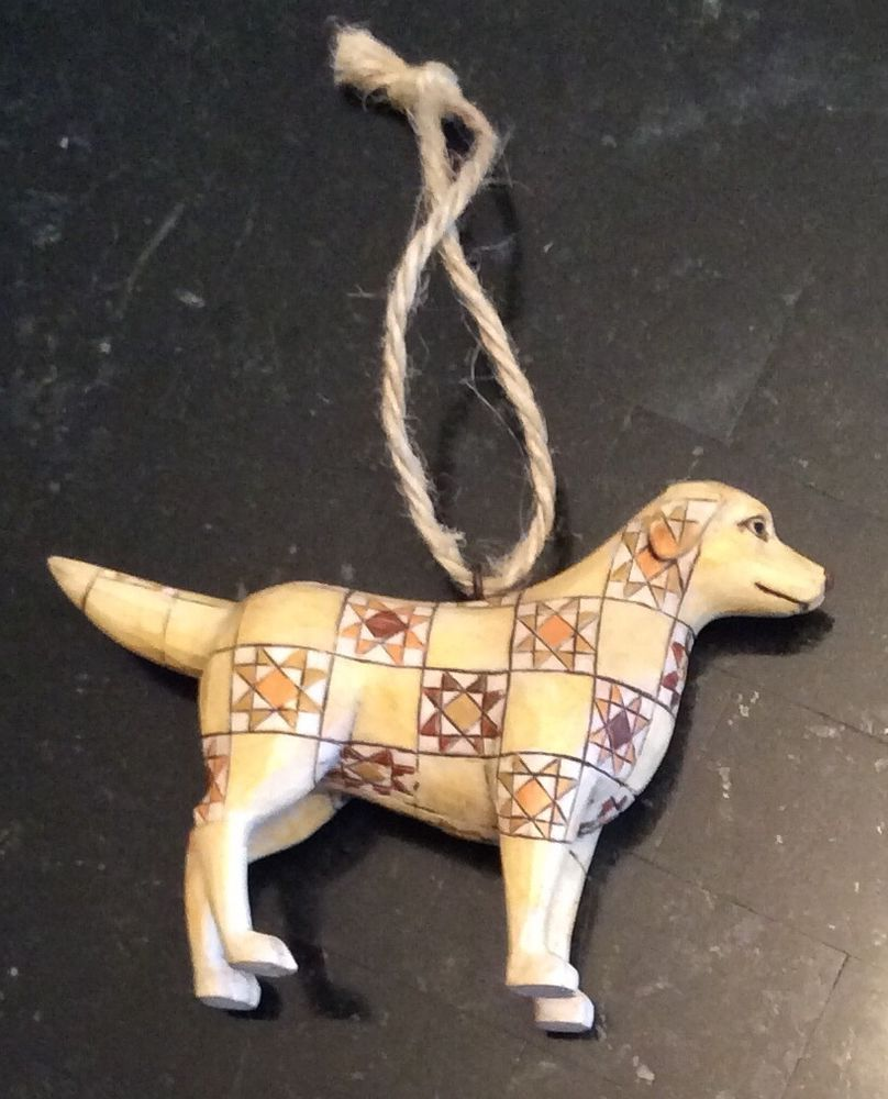 GORGEOUS FOLK ART GOLDEN RETRIEVER Christmas Ornament