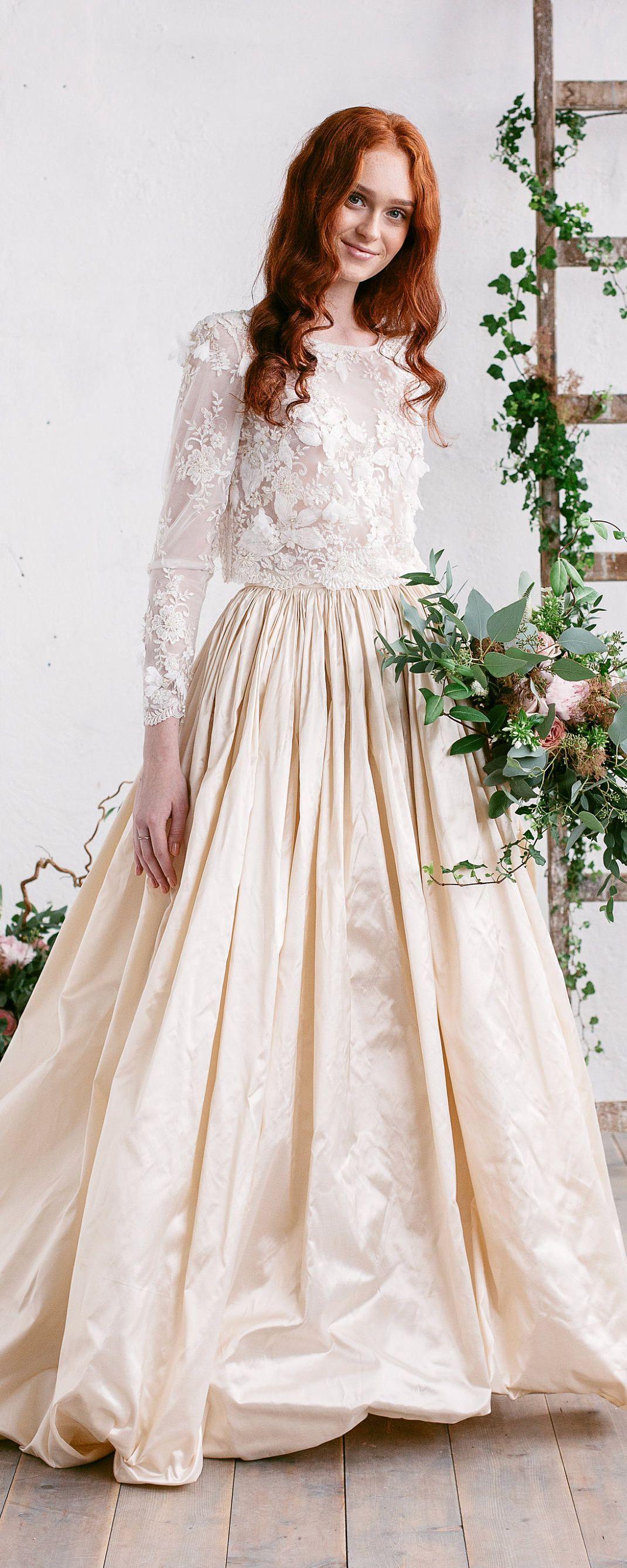 Wedding top bridal lace top bridal separates long sleeves lace