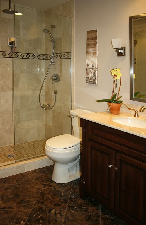 Chic Small Bathroom Remodel Idea With Glass Shower Door Chic Floor Tile And Unique Wooden Vanity With Mirror