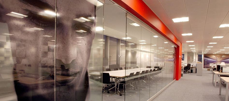 Operable Glass Wall With Glass Graphic Design And Specify, Office Design, Office  Furniture,
