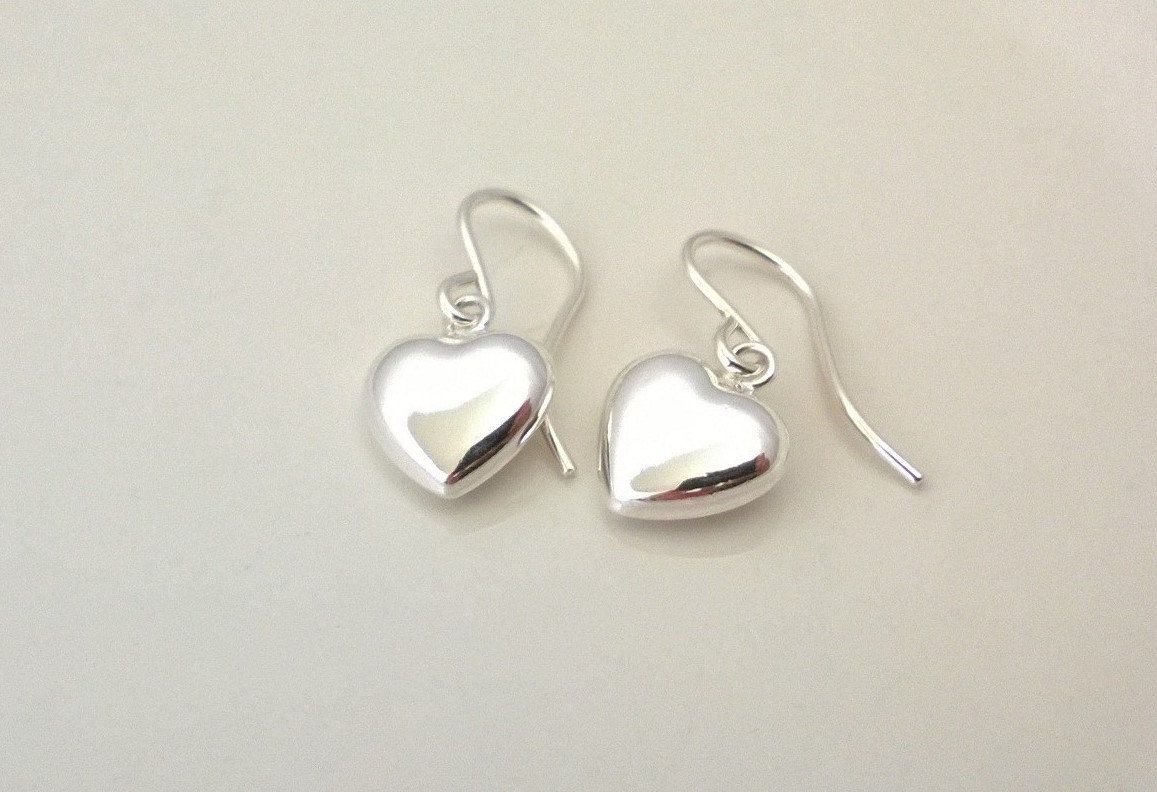 Sterling Silver Heart Earrings Simple Puffed