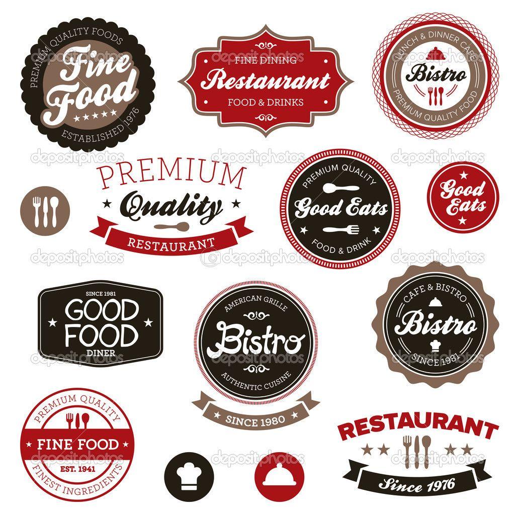 Vintage Restaurant Labels Design Vector Eps Download Http Depositphotos Com 9030569 Stock Illus Rotulos Vintage Embalagem Para Bolo Logos De Restaurantes