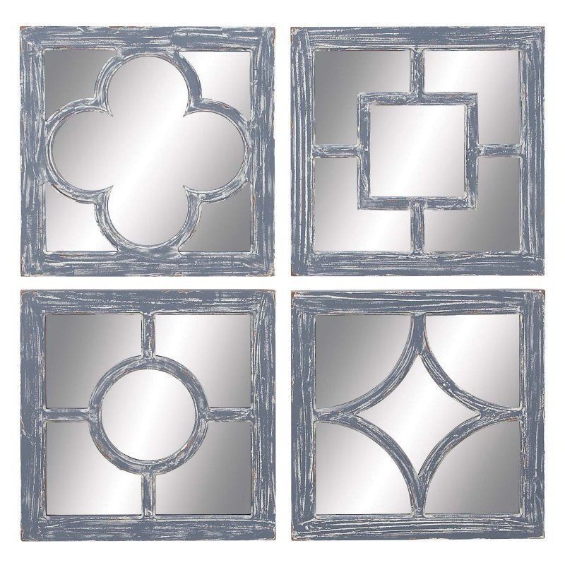 Decmode Square Wall Mirror Set Of 4 54432 Products Pinterest