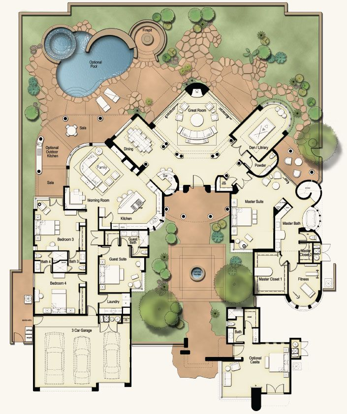 Independent And Simplified Life With Garage Plans With: Castillo-map Like The Front Court Yard But Have Always