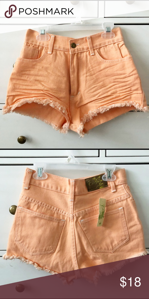 coral high waisted shorts