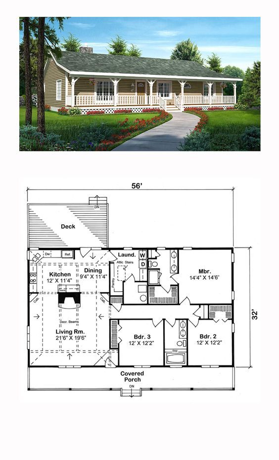 Traditional Style House Plan with 3 Bed 2 Bath