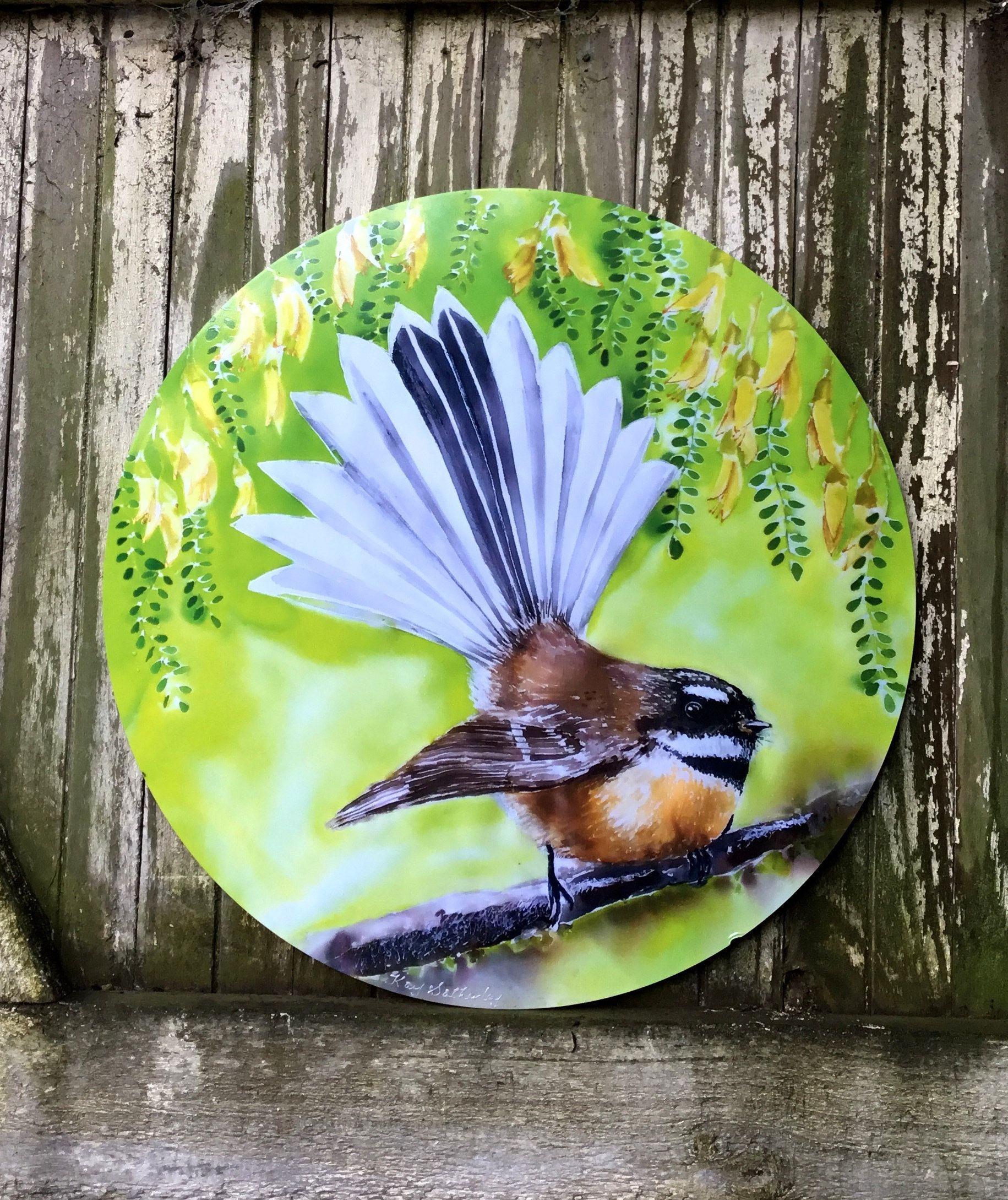 New Zealand Fantail Bird Circle Artwork Piwakawaka Nz Native Bird Inside Outside Art Outdoor Wall Art Panel Garden Art 30cm Diameter In 2020 Circle Artwork Bird Art Panel Art